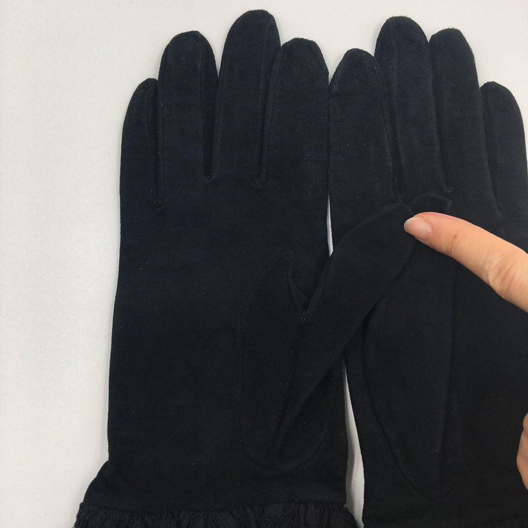 Dior Black Suede and Lace Blouson Elbow Length Glove