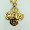 Chanel Gold Tone CC Logo Swirl Cross Necklace