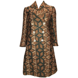 Gucci Geometric Copper and Tan Double Breasted Wool Coat