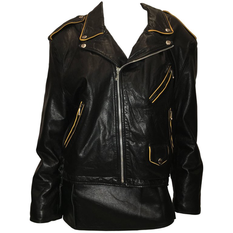 Gianni Versace 1980's Black Leather Coat