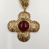 Chanel Antique Gold Tone CC Logo Cross Pendant with Pate de Verre Poured Glass Center by Maison Gripoix