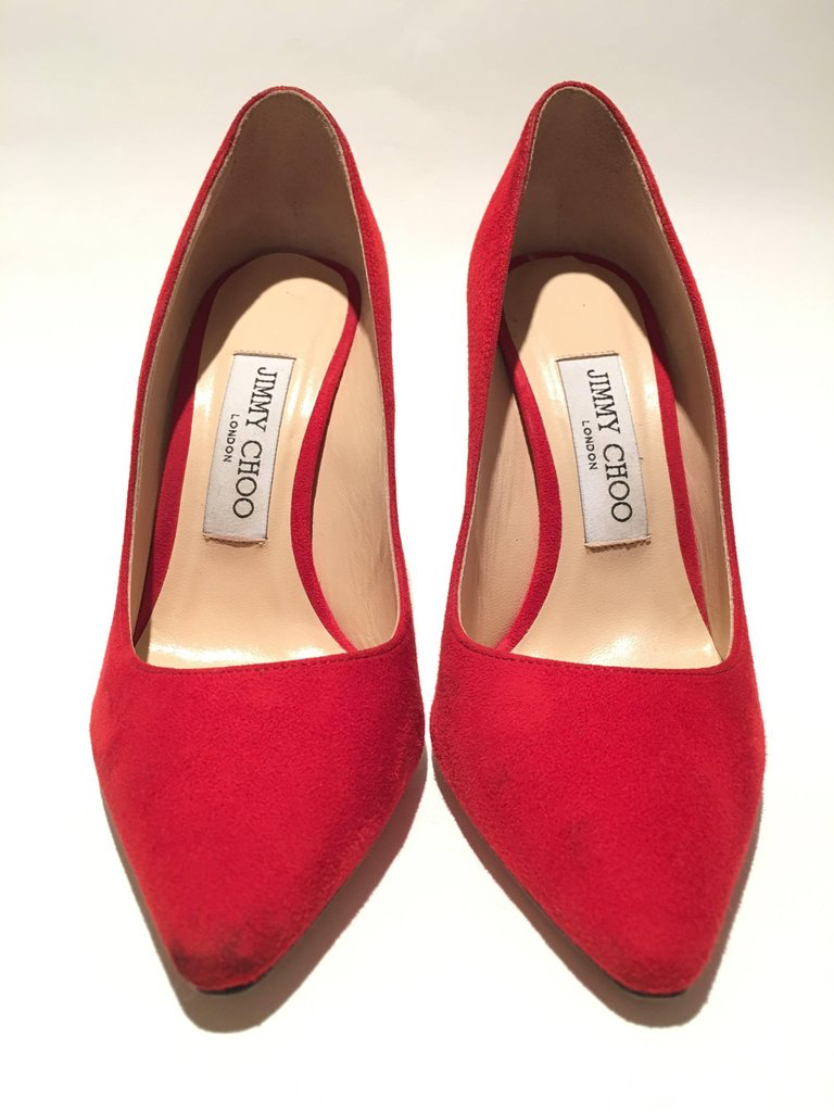 Jimmy Choo London Red Suede Pumps