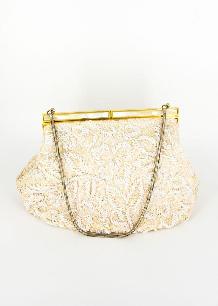 Mr. John 1960's Floral Beaded Handbag