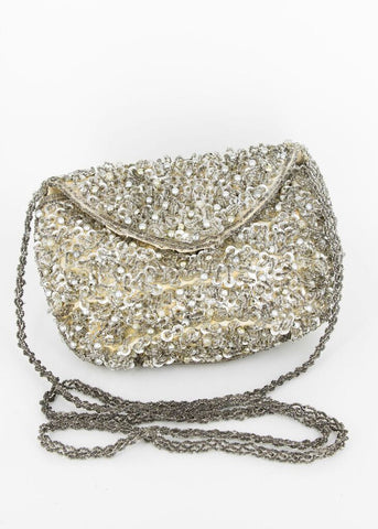 Pierre Cardin Gold and Silver Beaded Monogram Handbag