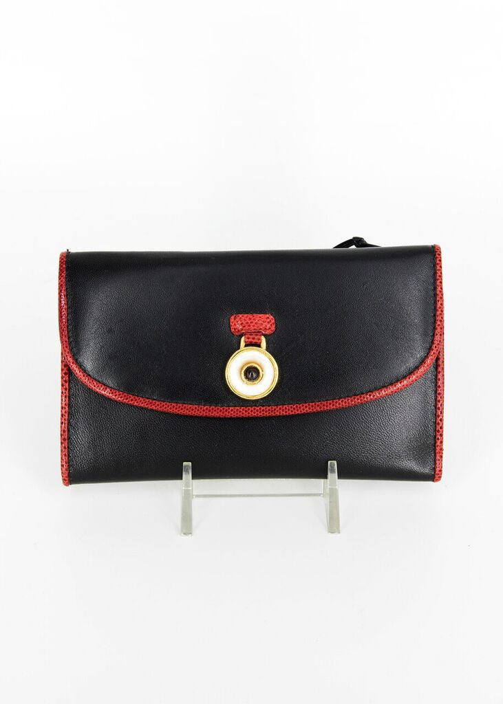 Judith Lieber Black Wallet with  Red Trim