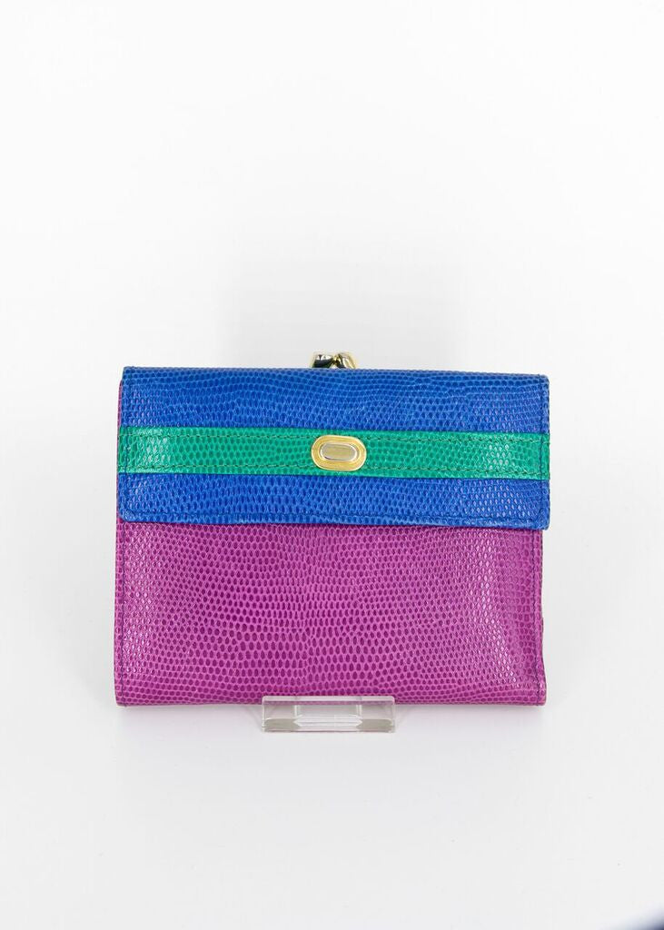 Neiman Marcus Multicolor Trifold Leather Wallet and Change Purse