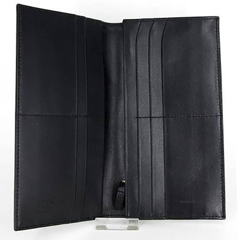 Mont Blanc Single Folder Black Leather Wallet