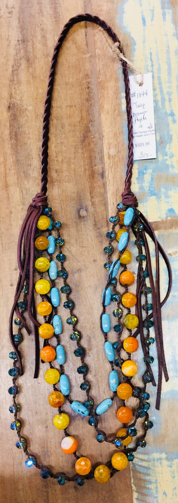 Orange & Turquoise Agate Necklace