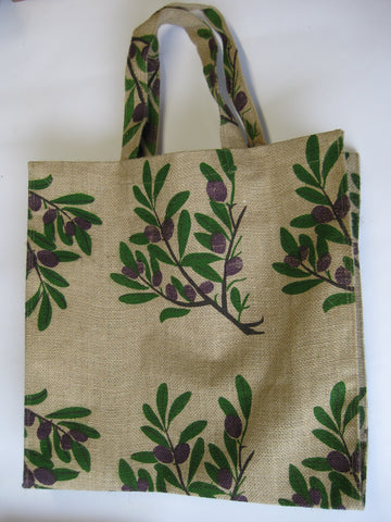 Plastic Lined Jute Bag w/ Berry Branch Pattern