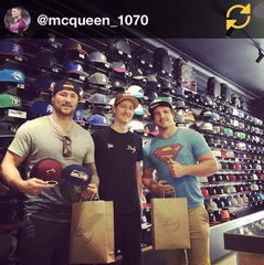 Chris McQueen, Dave Tryell NRL players visit Lidz Caps Newtown