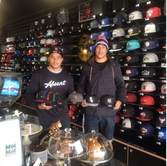 Kane Evans, Suia Taukeiaho Sydney Roosters Players visit Lidz Caps Newtown