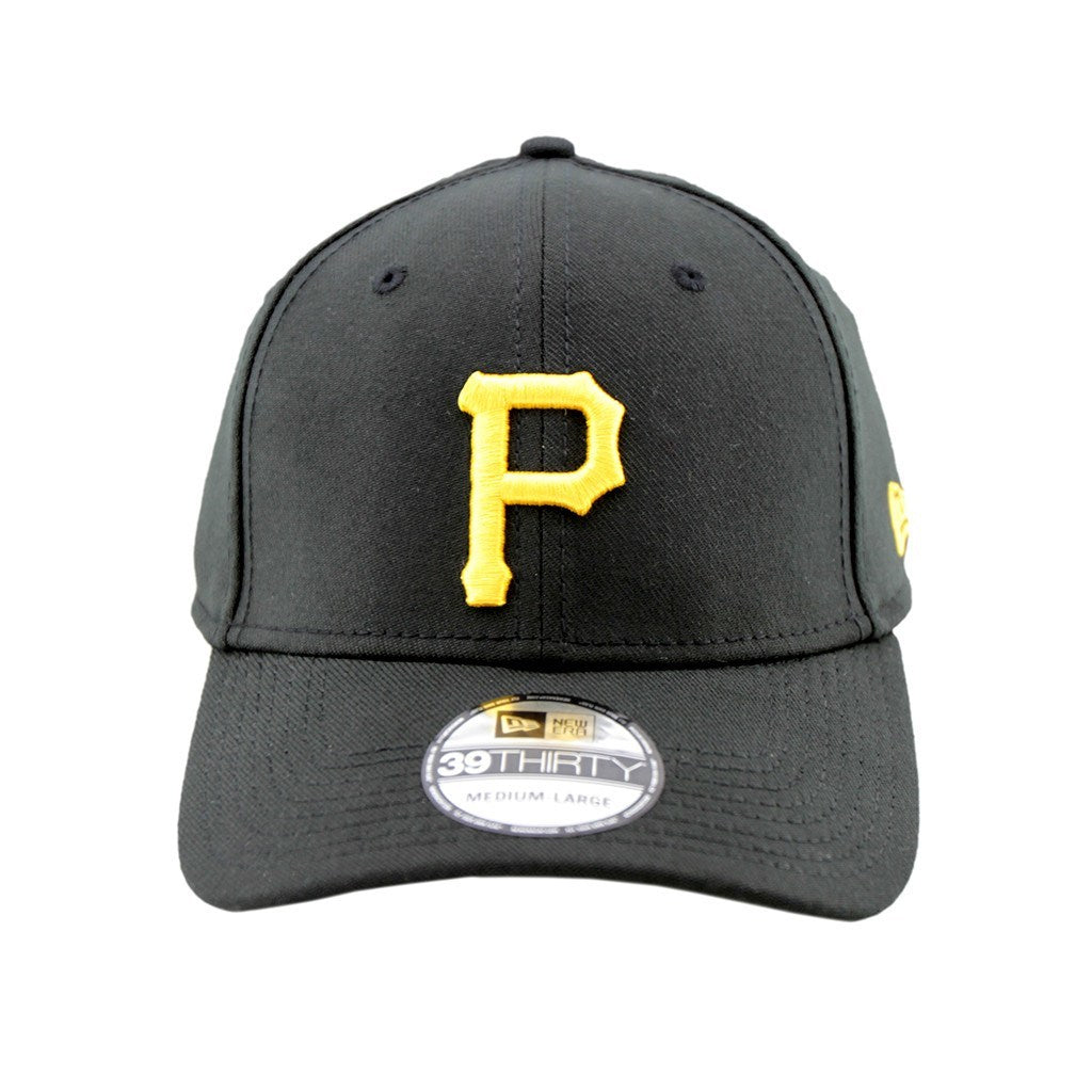 39Thirty Fitted Pre Curved Visor Cap - Pittsburgh Pirates Black 3930 Cap