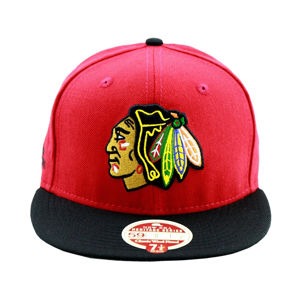Chicago Blackhawks New Era Hockey Heritage Series Two Tone Fitted ... 8283f773831