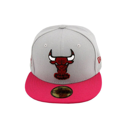 Chicago Bulls Windy City Logo New Era Grey Pink Fashion Fitted Cap