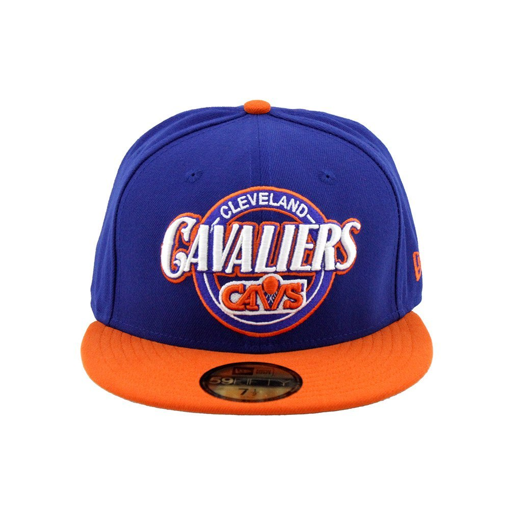 59Fifty Fitted Cap - Cleveland Cavaliers Orange Blue Custom Closer Fashion Fitted Cap