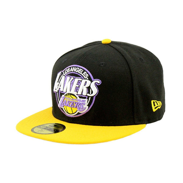 ... 59Fifty Fitted Cap - Los Angeles Lakers Custom Closer Fashion Fitted  Black Yellow Cap ... fbe592d5e6d2
