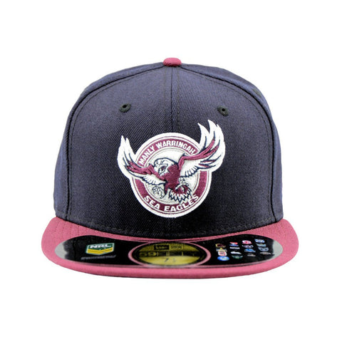 Manly Sea-Eagles Black Maroon Brim Round Logo Fitted Cap