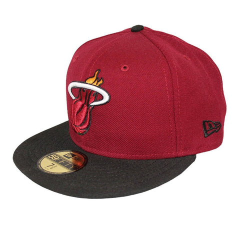 Miami Heat Maroon Black Fashion Fitted Cap