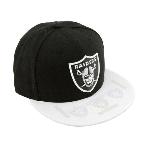 Oakland Raiders Black White Clear Vis Fashion Fitted Cap