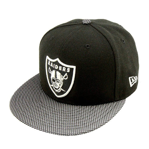 Oakland Raiders Metallic Mesh Black Silver Fashion Fitted Cap