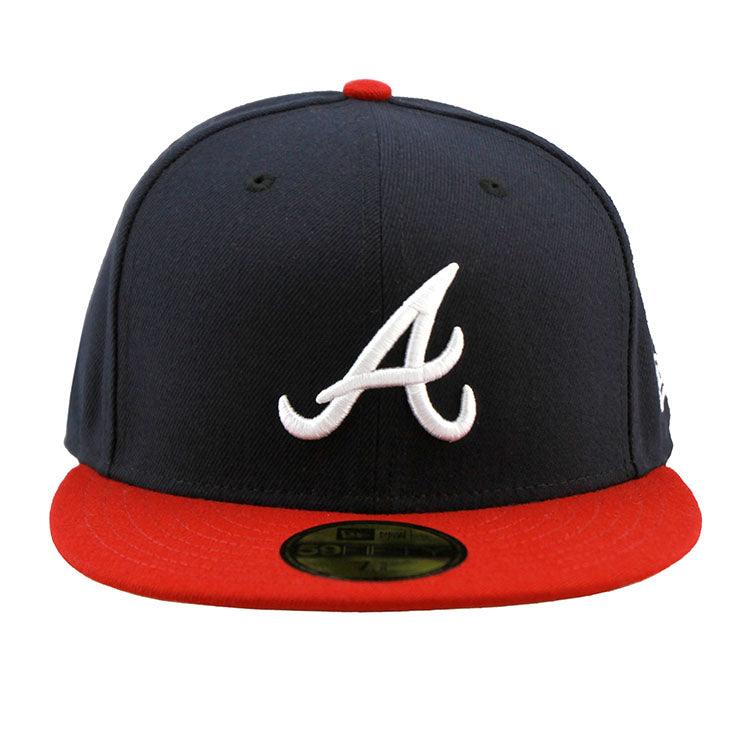1039f4f12ca32 ... new zealand atlanta braves new era navy red fitted cap e7498 43bd6