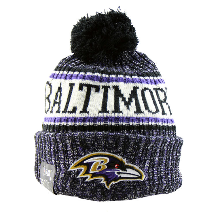 Baltimore Ravens New Era NFL On Field Knit Cuffed Beanie front