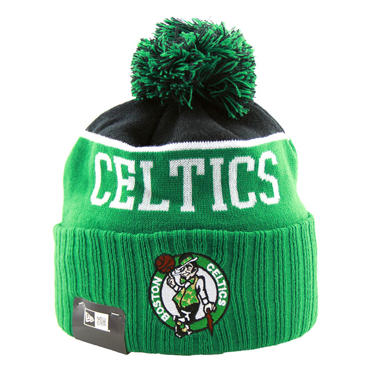 Boston Celtics New Era Pom Knit Kelly Green Beanie