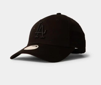 Los Angeles Dodgers New Era Black on Black 9forty Adjustable Cap Women's