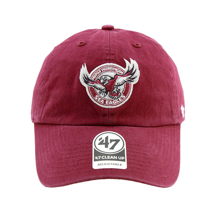 Manly Warringah Sea Eagles 47 Brand Clean Up Strapback Burgundy Cap