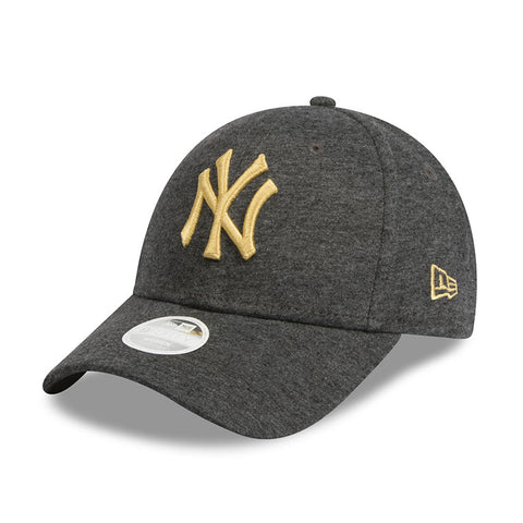 New York Yankees Grey Jersey Speck Metallic Gold Women's 9forty Adjustable Cap New Era