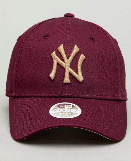 New York Yankees Maroon Gold 9forty Adjustable Cap Women