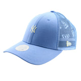 New York Yankees New Era Blue Tiny Logo Trucker Women's 9forty Adjustable Cap front