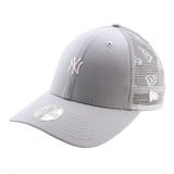 New York Yankees New Era Grey Tiny Logo Trucker Women's 9forty Adjustable Cap