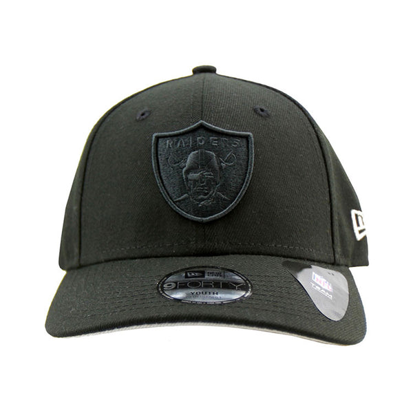 Wholesale Oakland Raiders Black on Black Youth Stealth Pop 9forty Adjustable  for sale