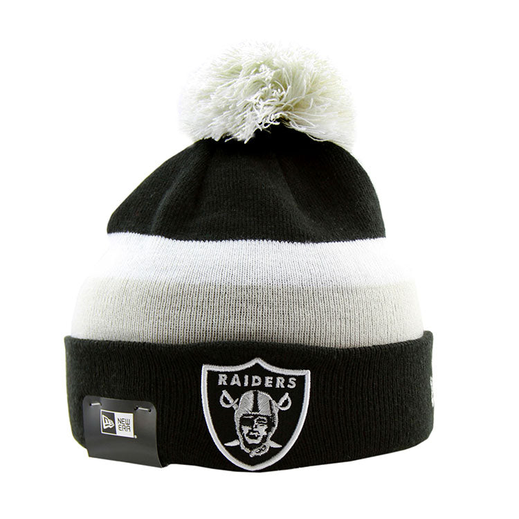 Oakland Raiders New Era Pom Knit Black Beanie