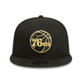 Philadelphia 76ers Black Gold Metallic 9Fifty Snapback Cap