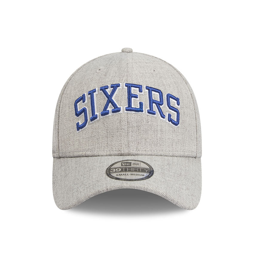 557dbc118c9 Philadelphia 76ers Heather Grey Script 3930 New Era Stretch Fit Cap
