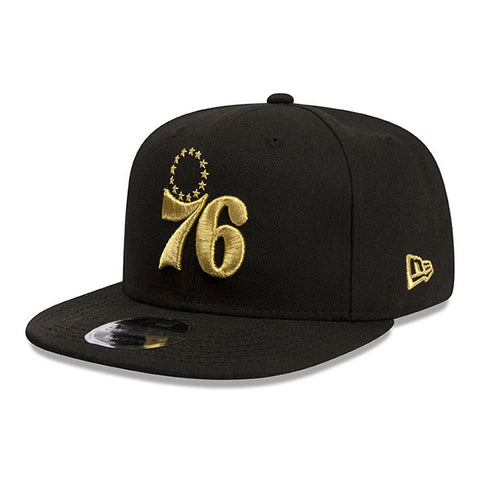 Philadelphia 76ers New Era NBA Black Metallic Gold Snapback Cap