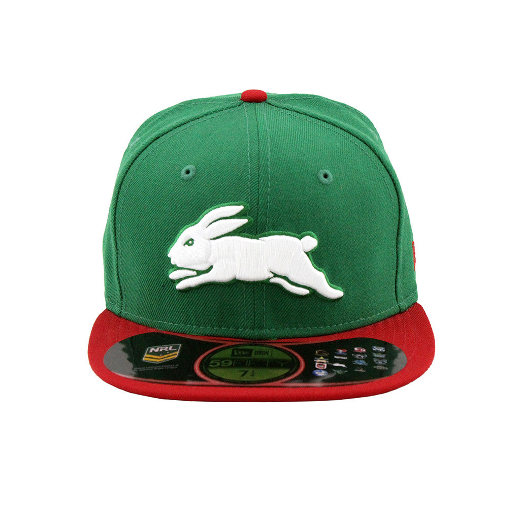 New Era South Sydney Rabbitohs Green Red Brim Fashion Fitted Cap Hat 59Fifty Lidz Caps Australia Online Shopping