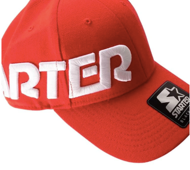 Starter Brand Side Raised Logo Black Label Red Cap