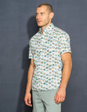 Vintage Postcard Print Button Down