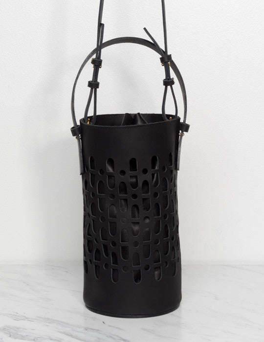 Leather Lantern Bucket Bag
