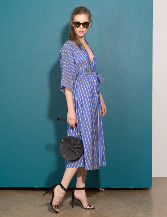 Silk Stripe V-Neck Dress
