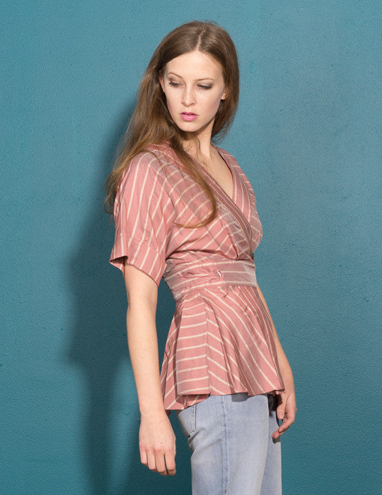 Silk Stripe Belted Wrap Top