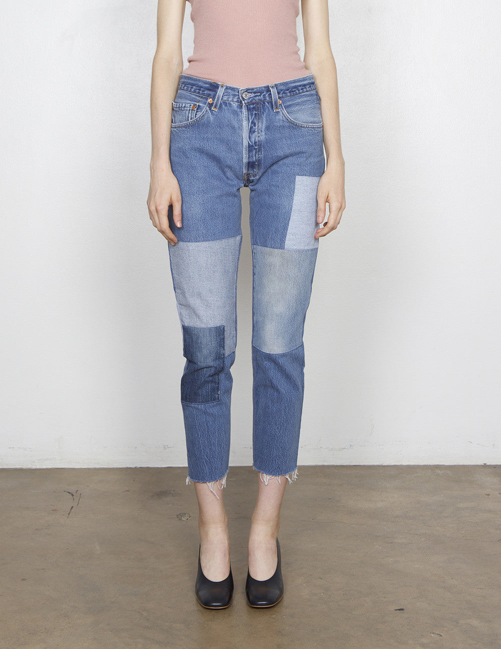 High Rise Relaxed Patch Jean
