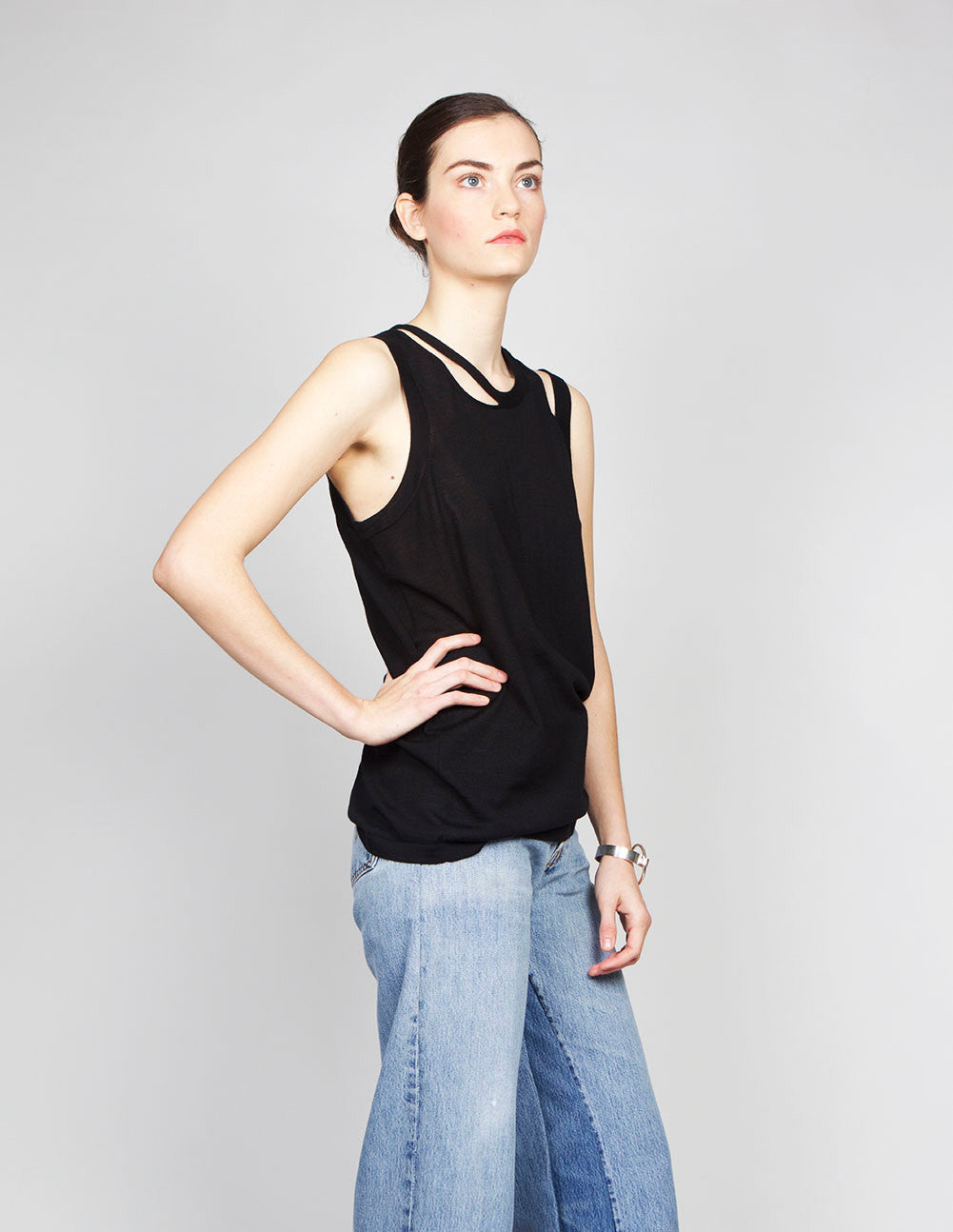 Slashed Neckline Tank