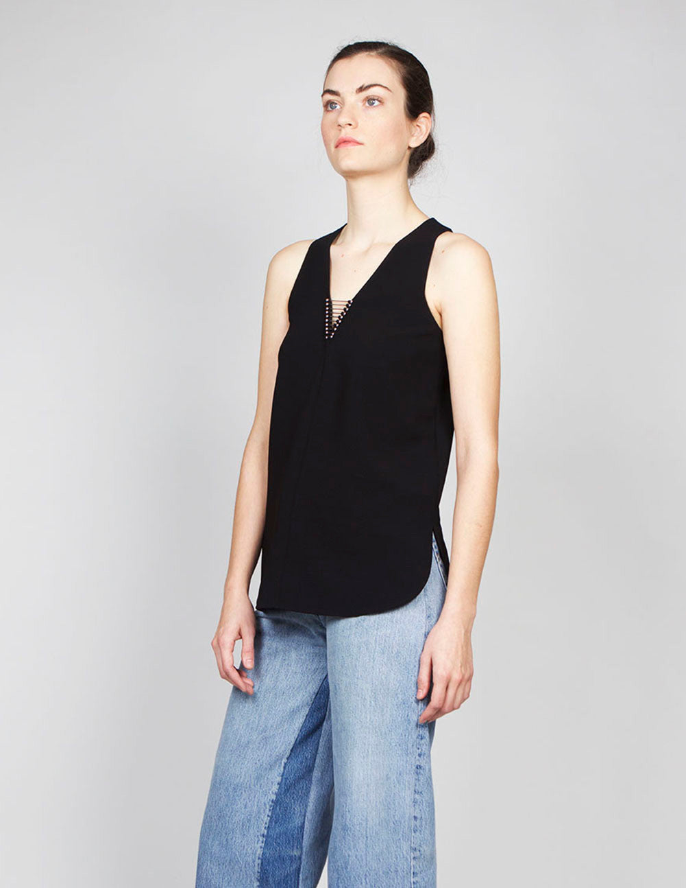 V-Neck Tank with Piercing