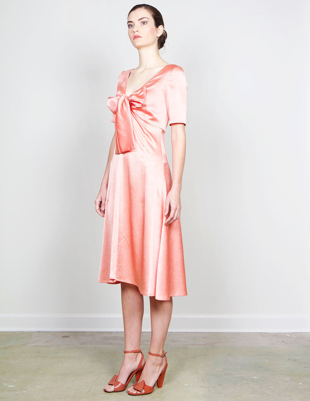 Tie-Front Satin Dress