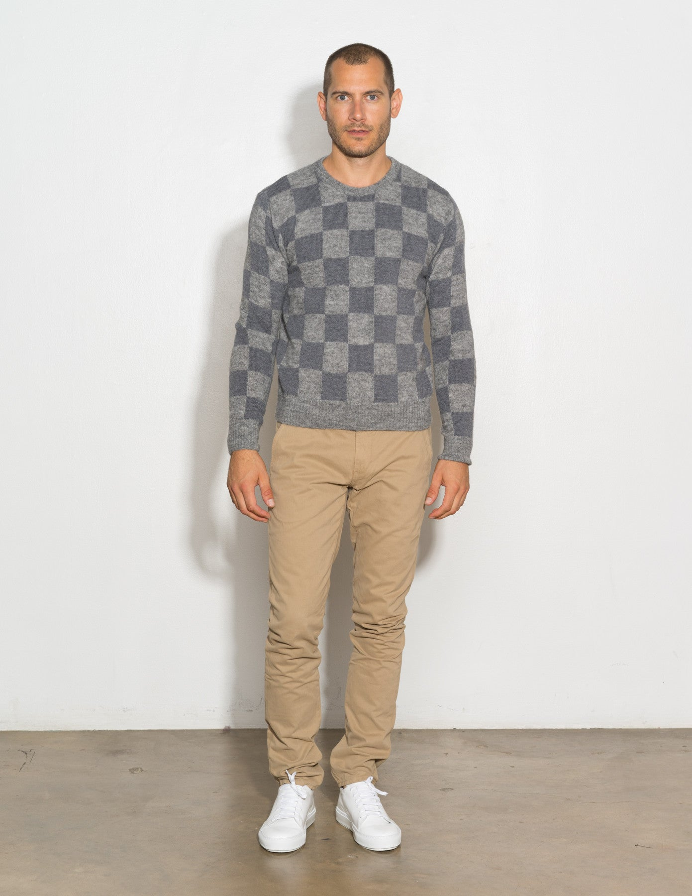 Crew Neck Checkered Sweater