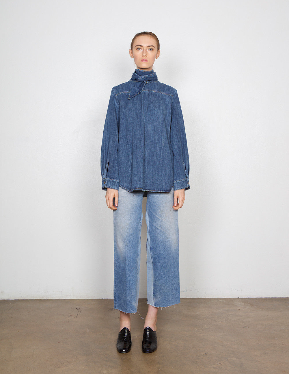 Tie-Neck Denim Top